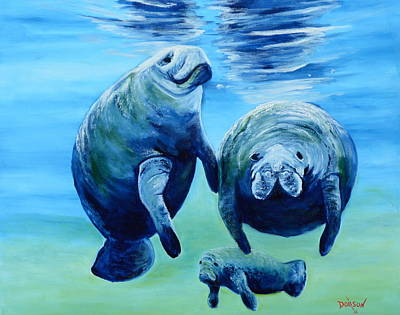 A Manatee Family Poster