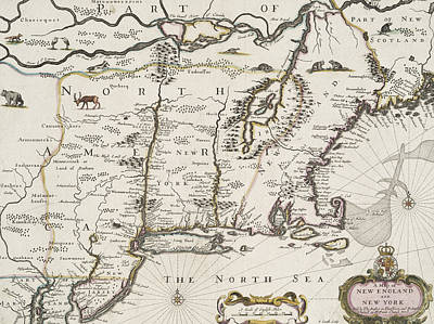 A Map Of New England And New York Poster by John Speed
