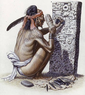 A Maya Artisan Readies A Limestone Poster by Terry W. Rutledge