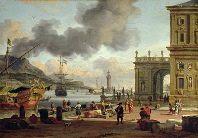 A Mediterranean Harbour Scene   Poster by Abraham Storck