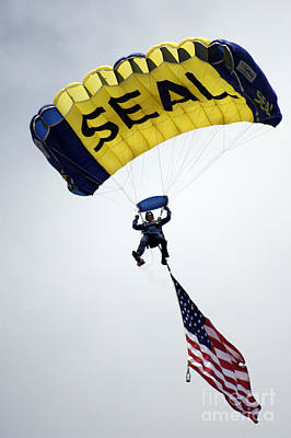 A Member Of The U.s. Navy Parachute Poster by Stocktrek Images
