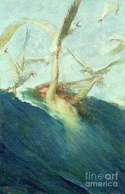 A Mermaid Being Mobbed By Seagulls Poster by Giovanni Segantini