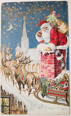 A Merry Christmas Vintage Greetings From Santa Claus And His Raindeer Poster by R Muirhead Art