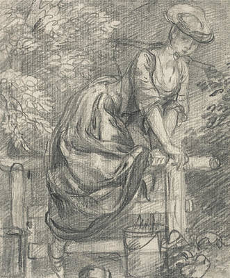 A Milkmaid Climbing A Stile Poster by Thomas Gainsborough