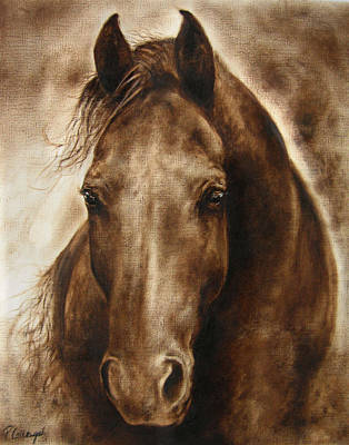 A Misty Touch Of A Horse So Gentle Poster by Paula Collewijn -  The Art of Horses