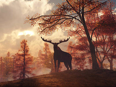 Poster featuring the digital art A Moose In Fall by Daniel Eskridge