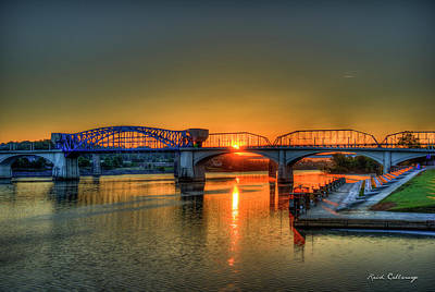 A New Day Chattanooga Sunrise Market Street Bridge Poster by Reid Callaway