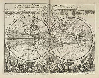 A New Map Of The Whole World With Trade Winds Herman Moll 1732 Poster