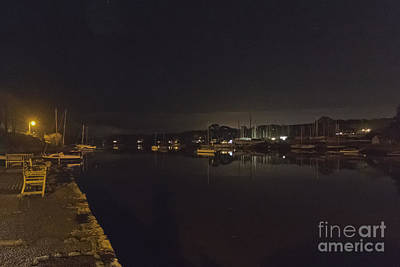 A Night View Of Mylor Creek Poster by Terri Waters