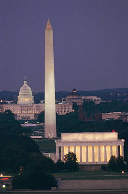A Night View Of The Lincoln Memorial Poster