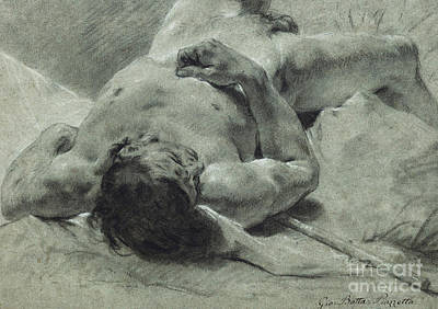 A Nude Youth Sprawled On His Back, Upon A Bank, Lying On A Standard Poster