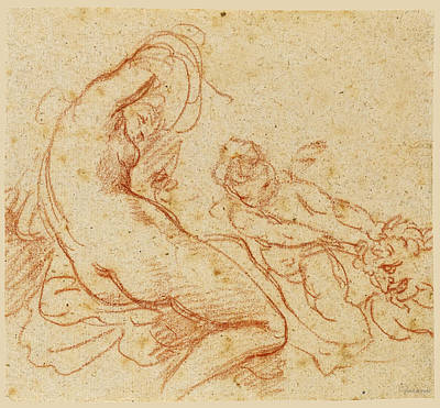 A  Nymph And A Cupid Dragging A Satyr Poster by Giovanni Battista Cipriani