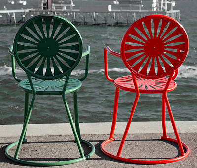 A Pair Of Chairs By The Lake Front Poster by Ron Miller