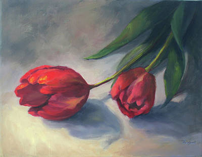 Poster featuring the painting A Pair Of Tulips by Vikki Bouffard