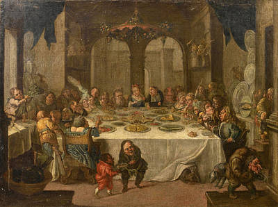 A Palace Interior With Figures Feasting Poster by Faustino Bocchi