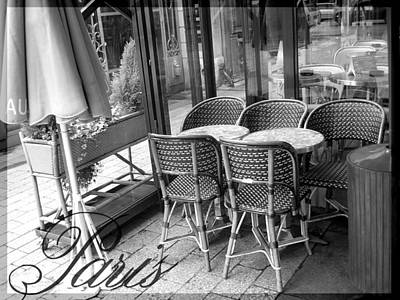 A Parisian Sidewalk Cafe In Black And White Poster by Jennifer Holcombe