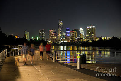 A Perfect Night For A Stroll And Take The Dog For A Walk On The Board Walk Trail Bridge On Lady Bird Lake With Austin Skyline Backdrop Poster
