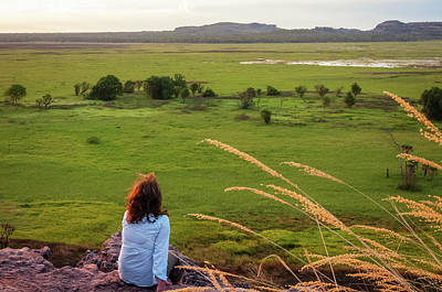 A Person Admiring The View From Ubirr Rock, Australia Poster by Daniela Constantinescu