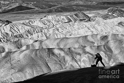 A Photographer Catching The Perfect Light At Zabriskie Point. Poster