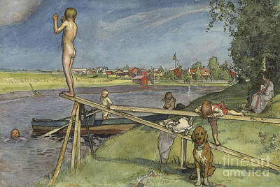 A Pleasant Bathing Place Poster by Carl Larsson