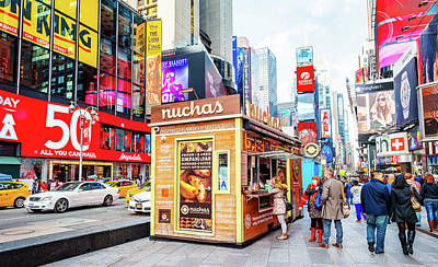 A Portable Food Stand In New York Times Square Poster