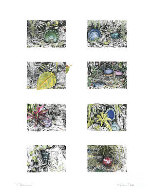 Poster featuring the drawing A Potters Garden by Kerryn Madsen-Pietsch