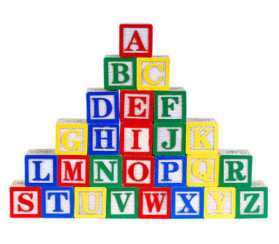 A Pyramid Of Alphabet Toy Bricks Poster by Norman Pogson