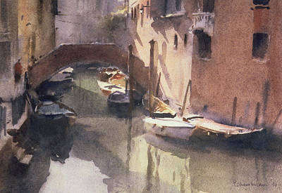 A Quiet Canal In Venice Poster by Trevor Chamberlain