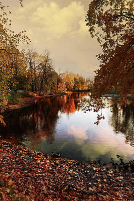 a quiet evening in a city Park painted in bright colors of autumn Poster