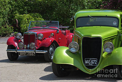 A Red Mg And A Green Hot Rod Poster by Terri Waters