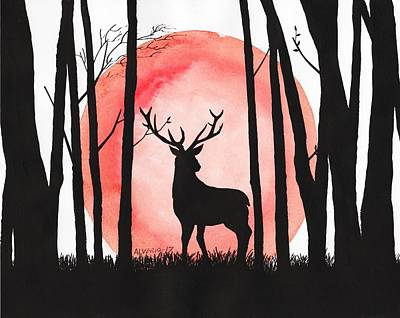A Reindeer In The Woods Poster