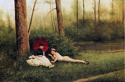 A Rest After Boating Poster by Georges Croegaert