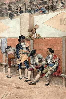 A Rest During The Bullfight Poster by Joaquin Agrasot