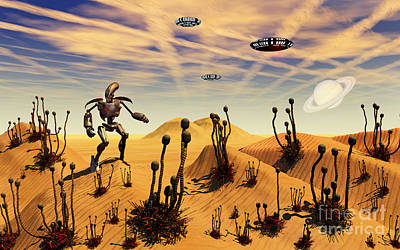 A Robot Tending To A Desert Garden Poster by Mark Stevenson