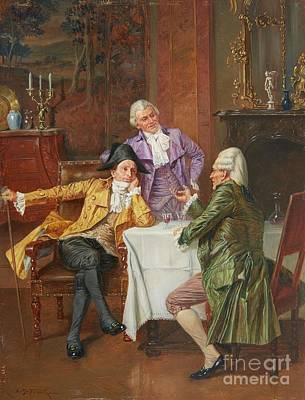 A Rococo Interior With Gentlemen Debating Poster by Celestial Images