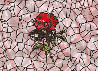 A Rose On Stained Glass Poster