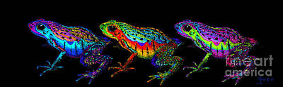 A Row Of Rainbow Frogs Poster