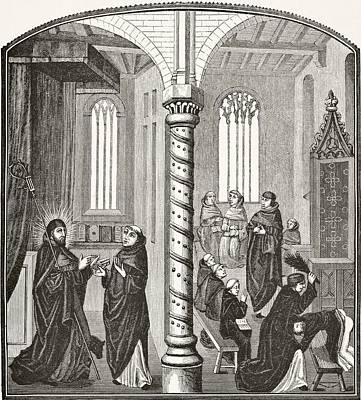 A School Of Mendicant Monks And A Pupil Poster by Vintage Design Pics