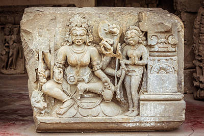 A Sculpture Of Durga In Abhaneri Poster