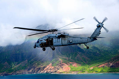 A Sea Hawk Helicopter Flies Off Coast Of Kauai Poster by Celestial Images