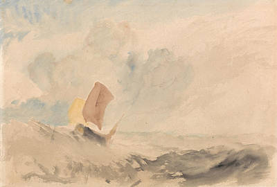 A Sea Piece A Rough Sea With A Fishing Boat Poster by Joseph Mallord William Turner