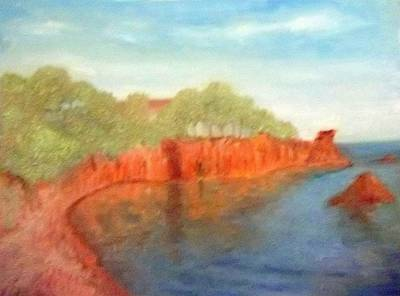A Small Inlet Bay With Red Orange Rocks Poster