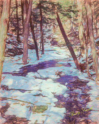 A Small Stream Meandering Through Winter Landscape. Poster