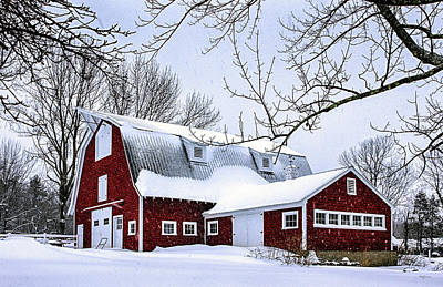 A Snowy Day At Grey Ledge Farm Poster by Betty Denise