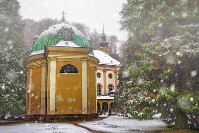 A Snowy Day In Salzburg Austria  Poster