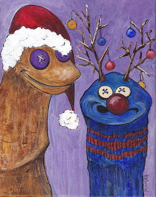 A Sock Puppet Christmas Poster by Robin Wiesneth