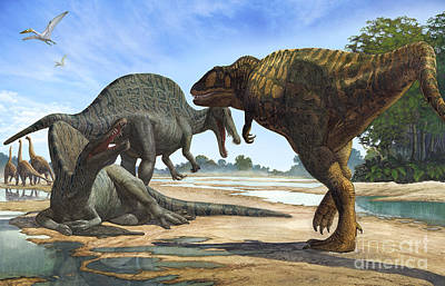 A Spinosaurus Blocks The Path Poster