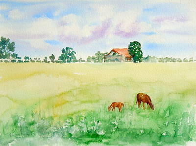 Poster featuring the painting A Spring Graze by Sharon Mick