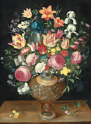 A Still Life Of Flowers In A Sculpted Vase Poster