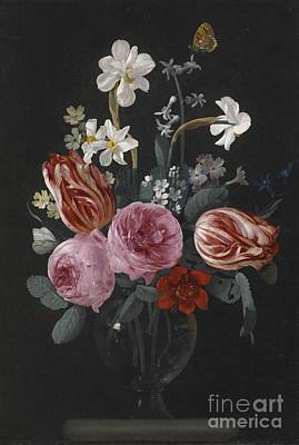 A Still Life Of Tulips, Roses, Daffodils And Other Flowers, With Butterflies, Poster by Celestial Images